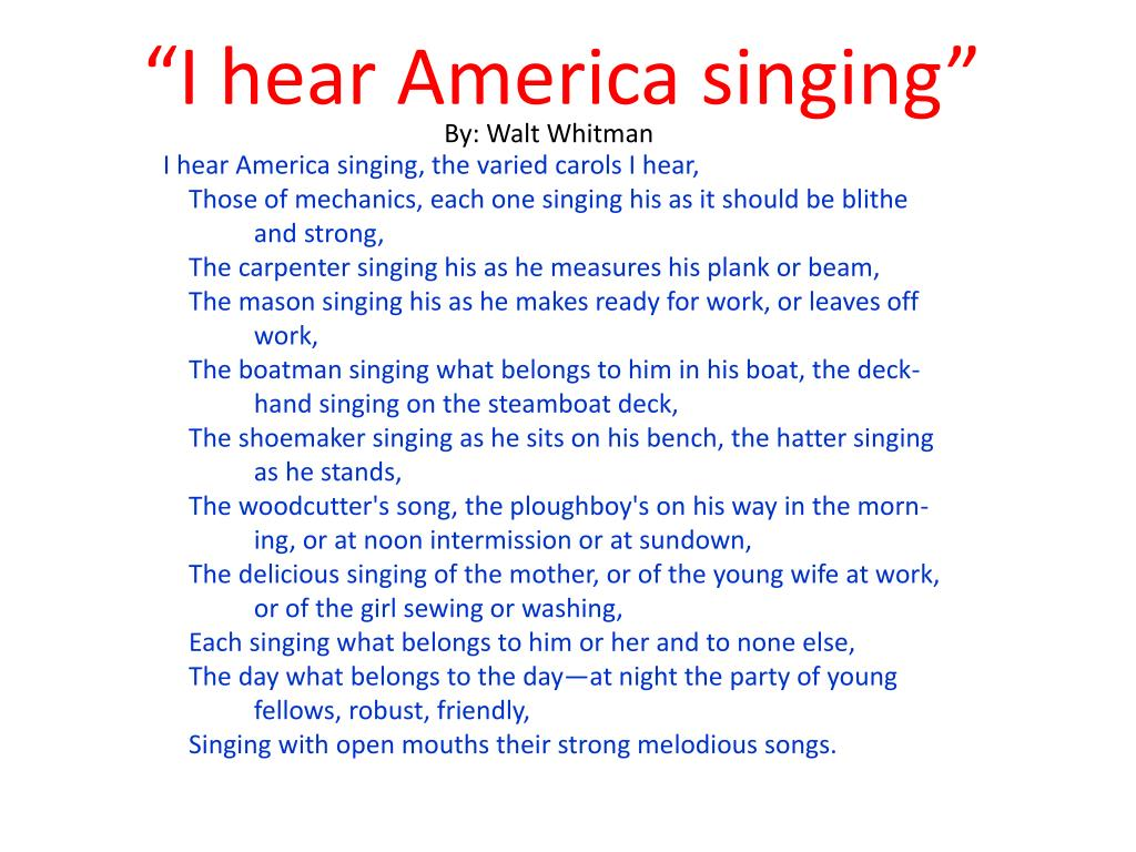 Ppt I Hear America Singing Powerpoint Presentation Free