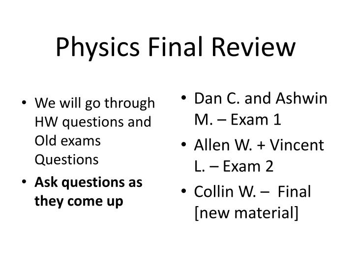 physics final review n.