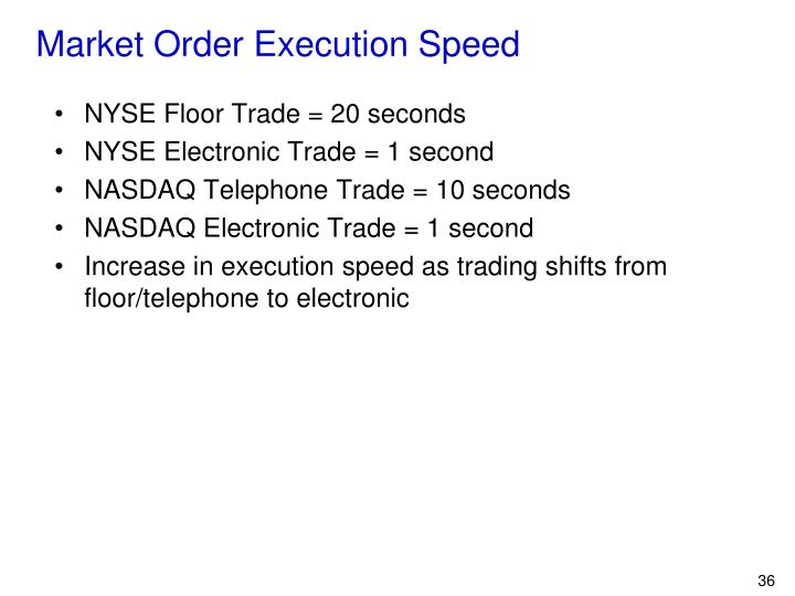 Market Order Execution Speed