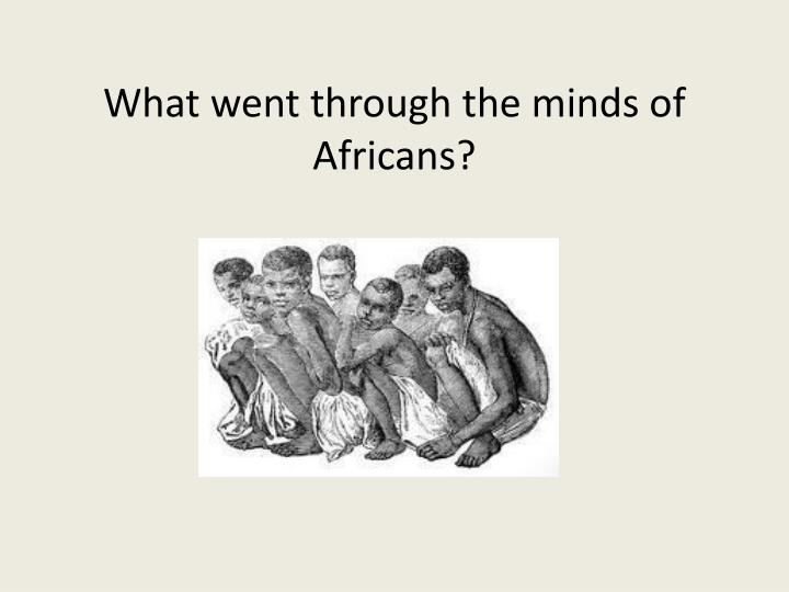 What went through the minds of africans