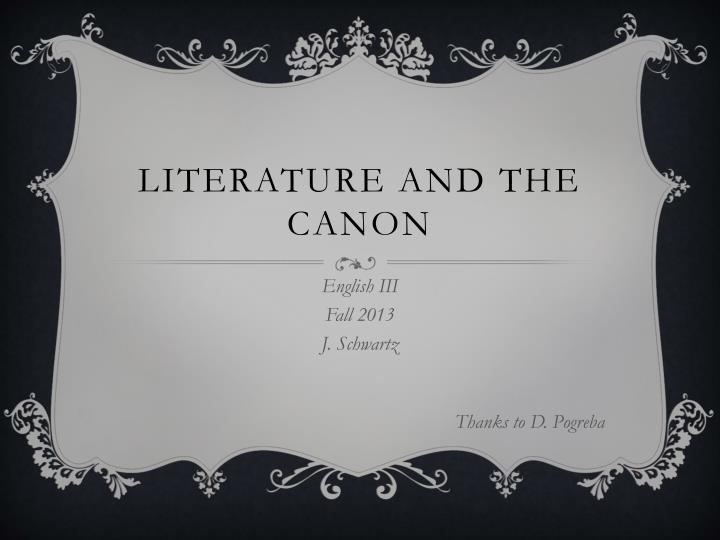 literature and the canon n.