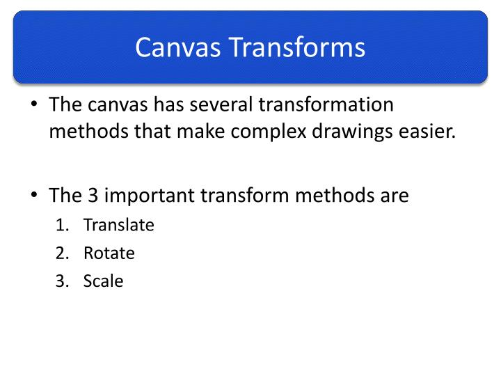 Canvas Transforms