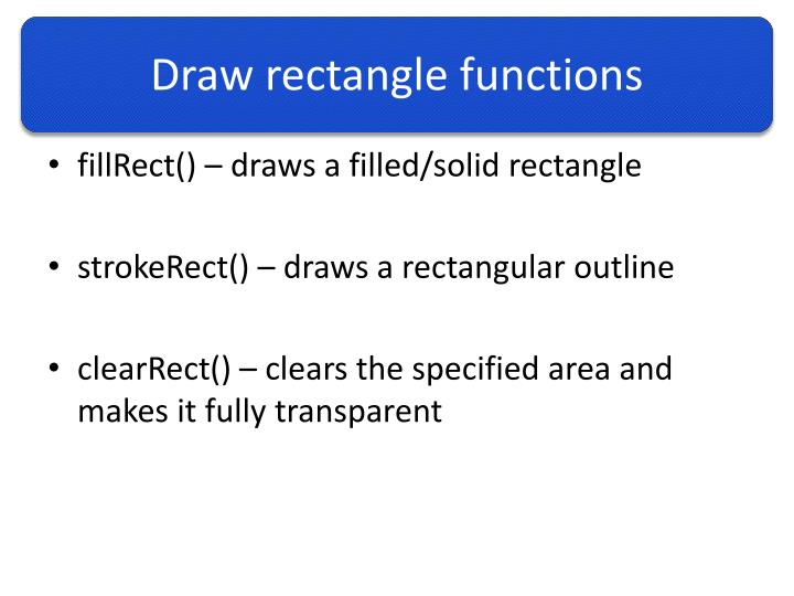 Draw rectangle functions