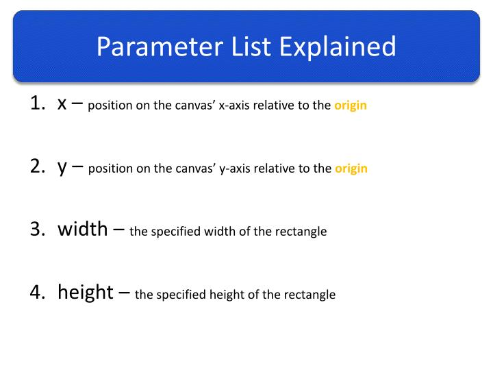 Parameter List Explained