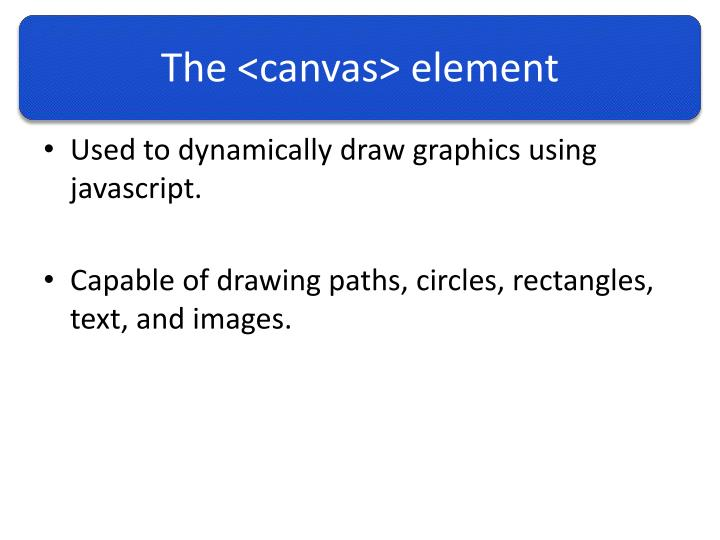 The canvas element