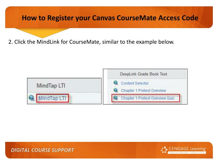How to Register your Canvas CourseMate Access Code