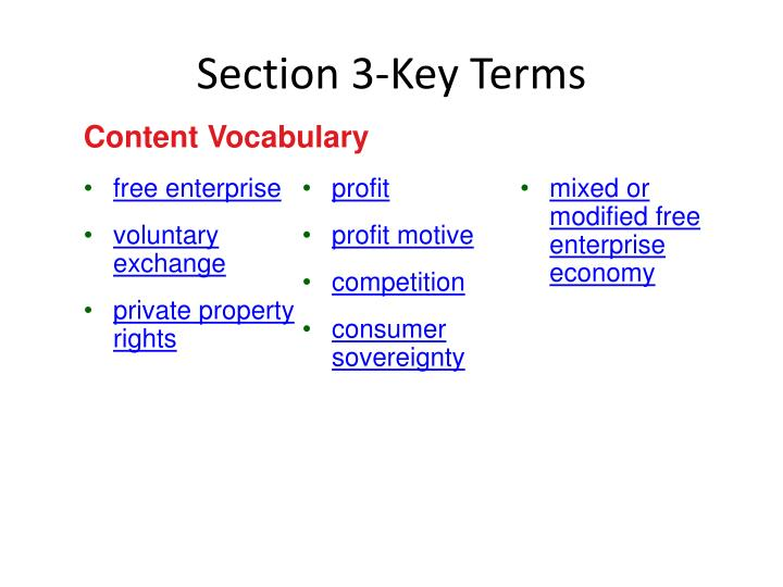 Section 3 key terms
