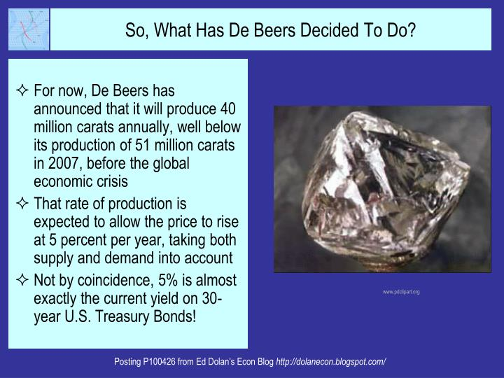 For now, De Beers has announced that it will produce 40 million carats annually, well below its production of 51 million carats in 2007, before the global economic crisis