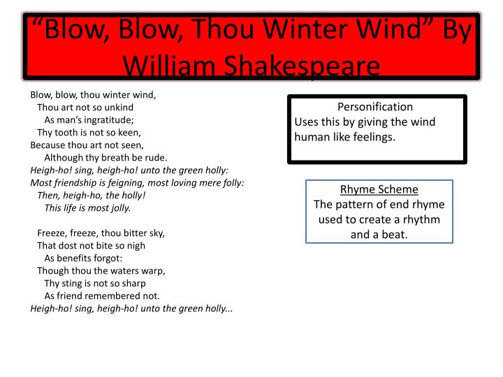Blow blow thou winter wind by william shakespeare