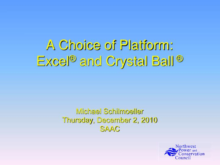 a choice of platform excel and crystal ball