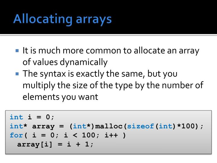 Allocating arrays