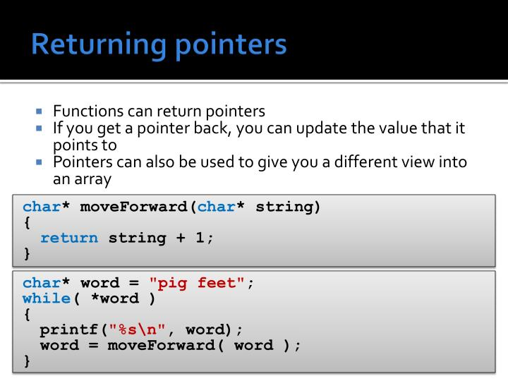 Returning pointers