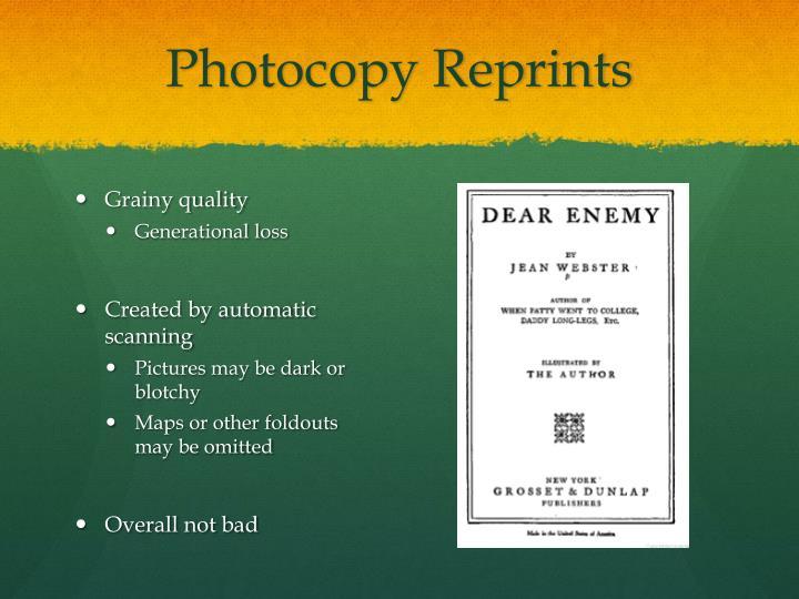 Photocopy reprints