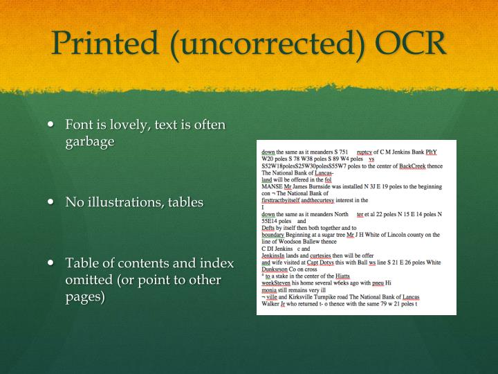 Printed (uncorrected) OCR