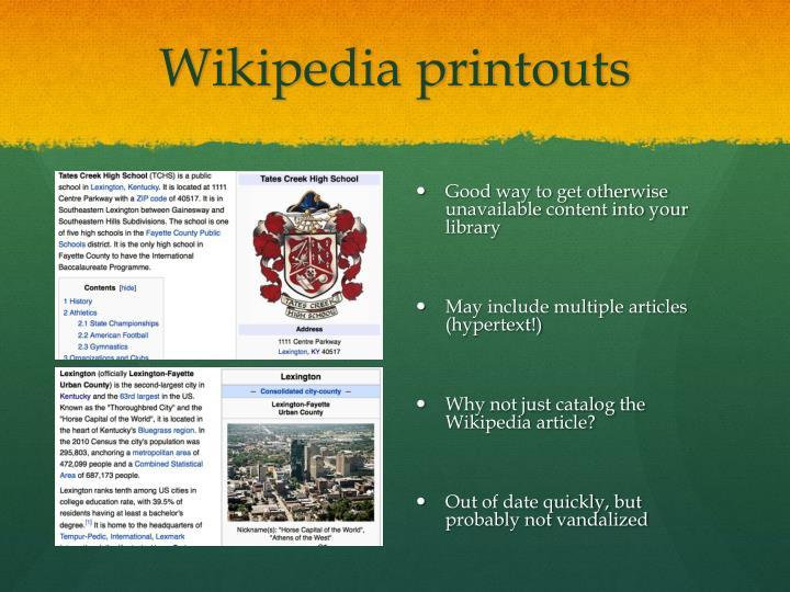 Wikipedia printouts
