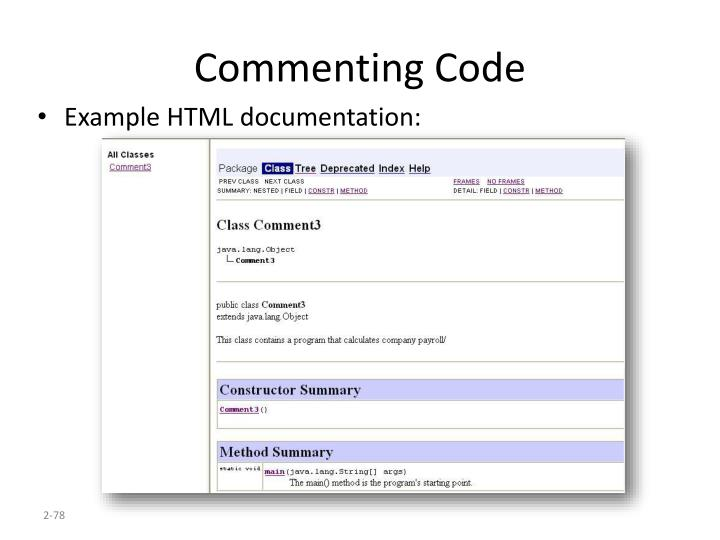 Commenting Code