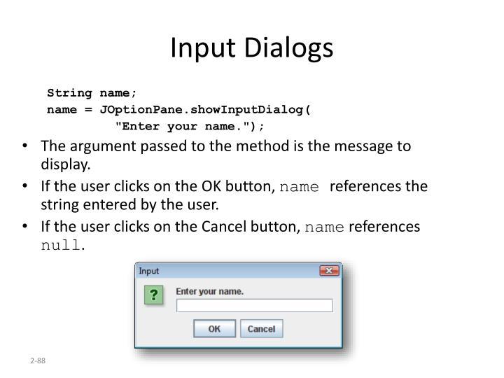 Input Dialogs