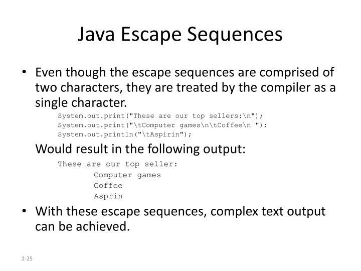 Java Escape Sequences