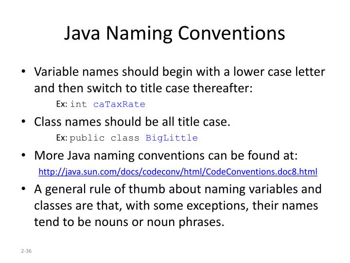 Java Naming Conventions