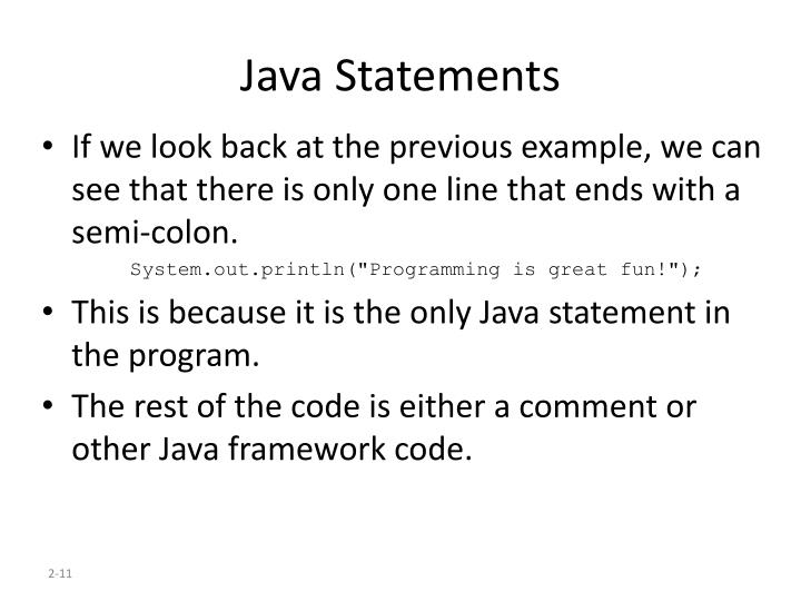 Java Statements