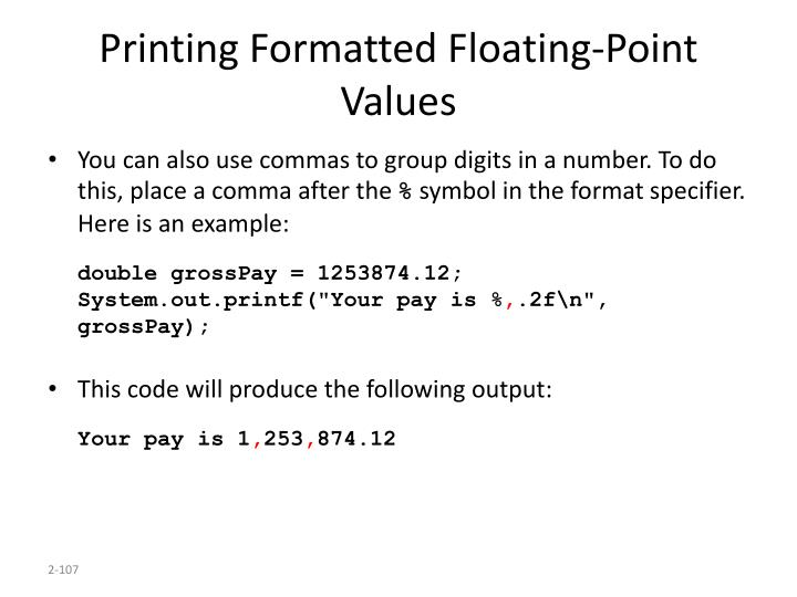 Printing Formatted Floating-Point Values