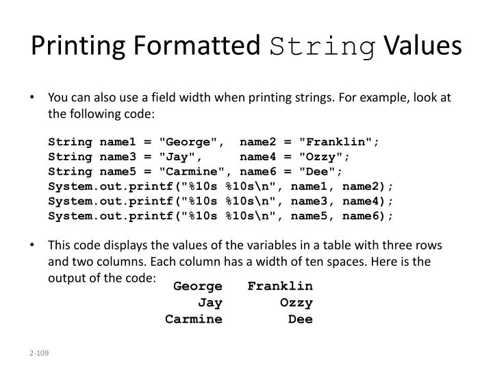 Printing Formatted
