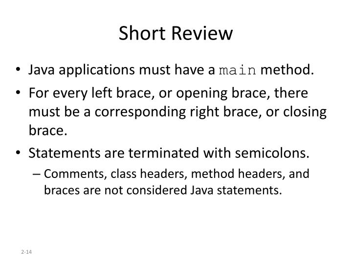 Short Review