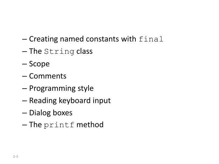 Creating named constants with