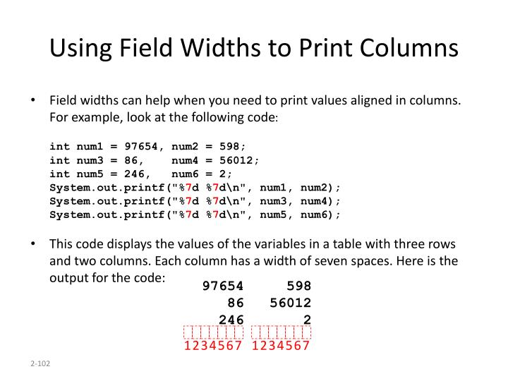 Using Field Widths to Print Columns