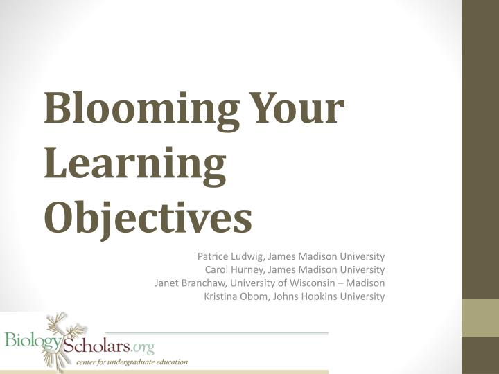 blooming your learning objectives n.