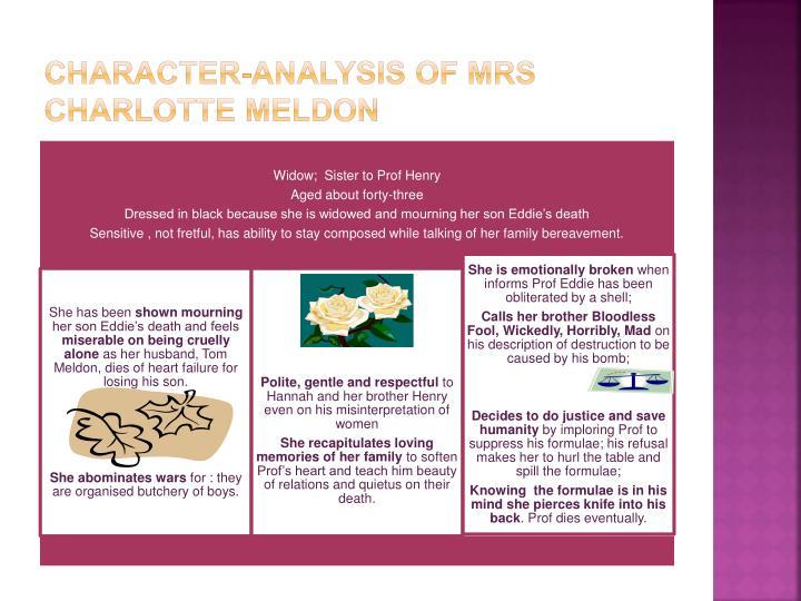Character-analysis of mrs Charlotte meldon
