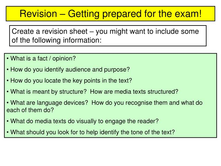 Revision – Getting prepared for the exam!