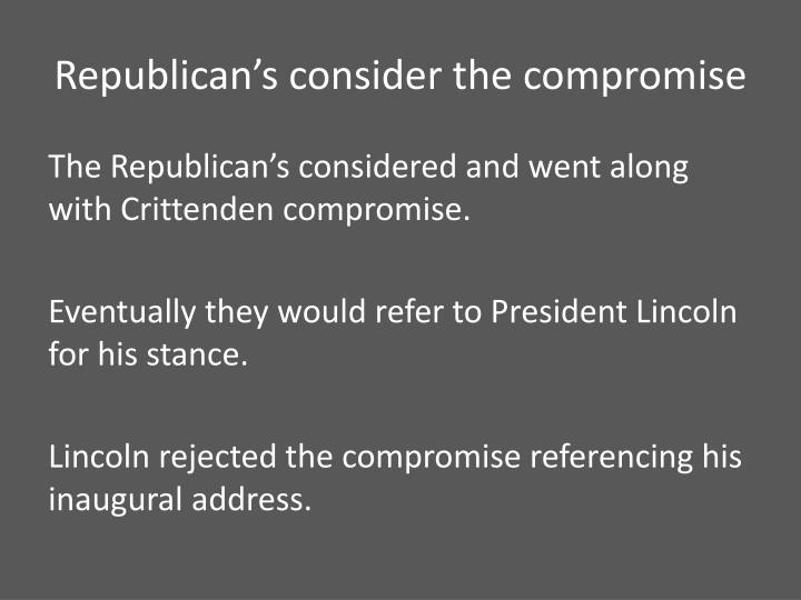 Republican's consider the compromise