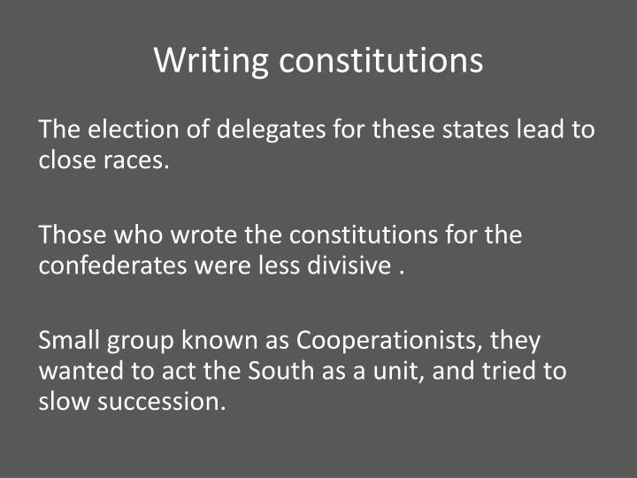 Writing constitutions