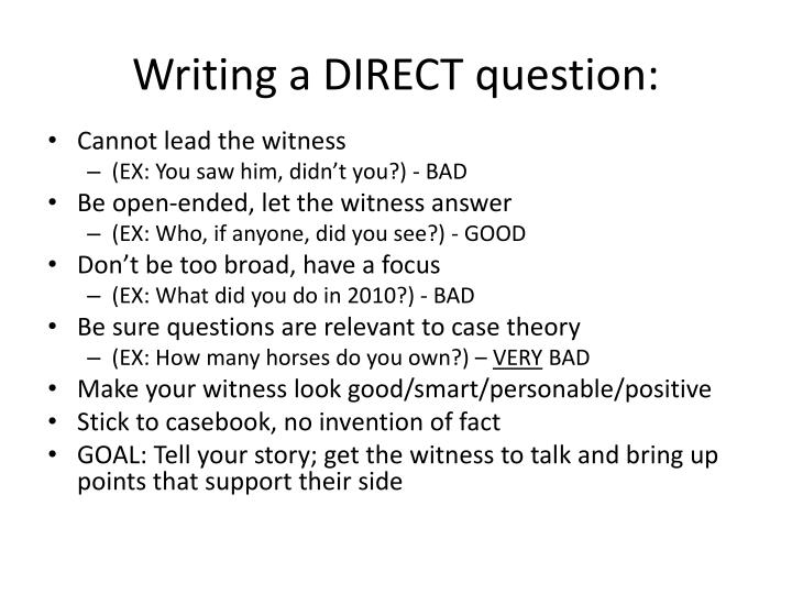 writing a direct question