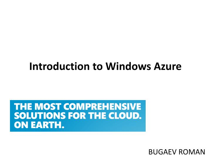 introduction to windows azure n.