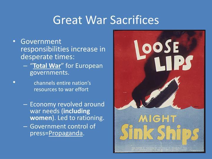 Great war sacrifices