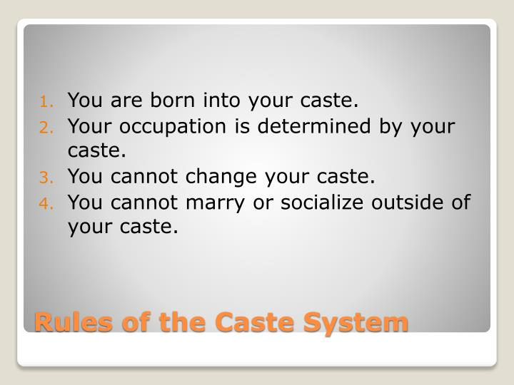 Rules of the caste system
