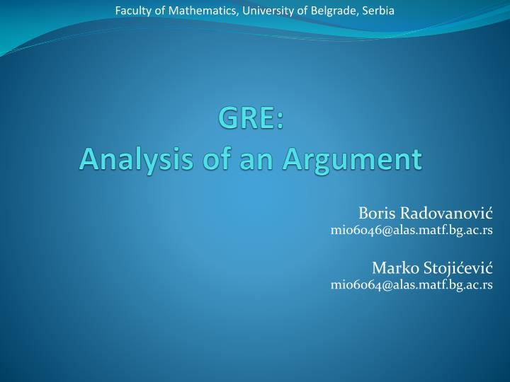 analysis of an argument