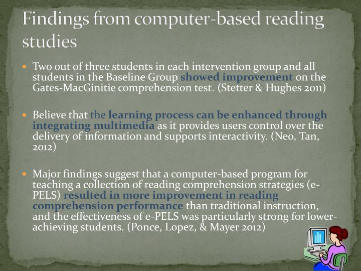 Findings from computer-based reading studies