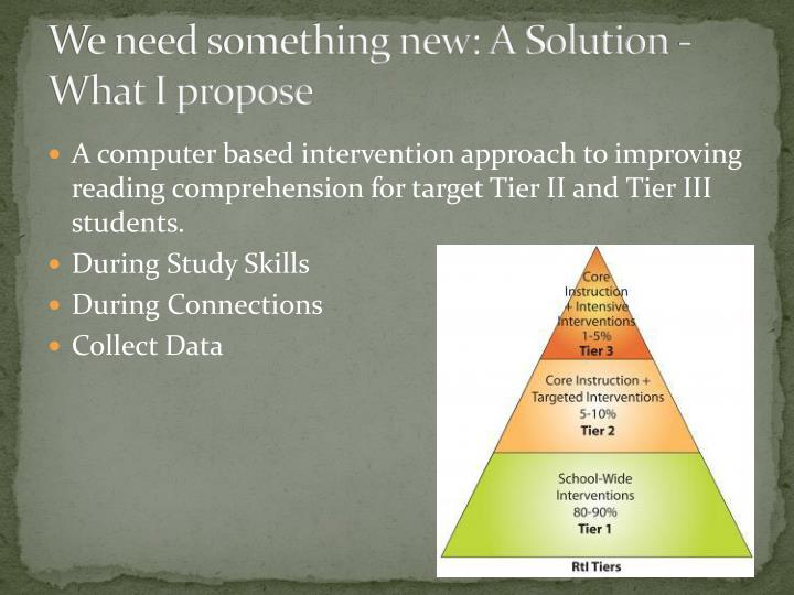 We need something new: A Solution -