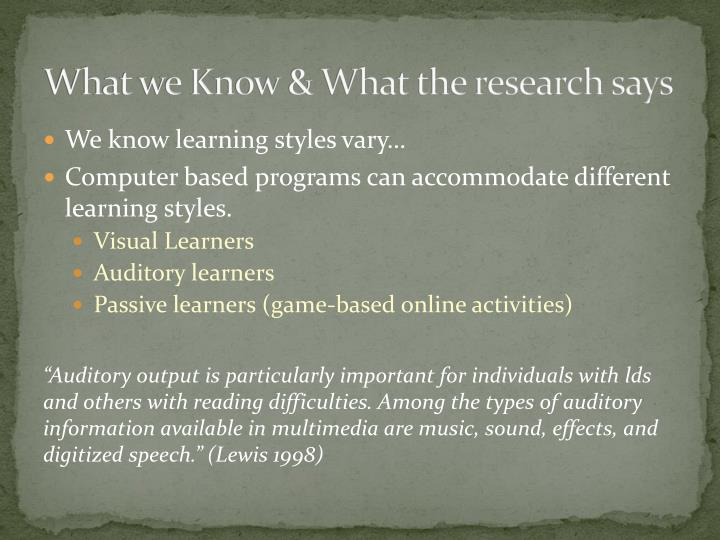 What we Know & What the research says