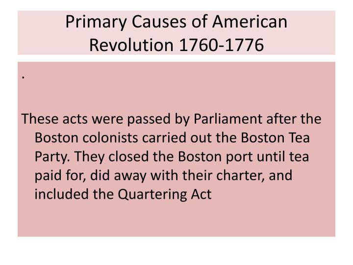 what were the causes of american revolution