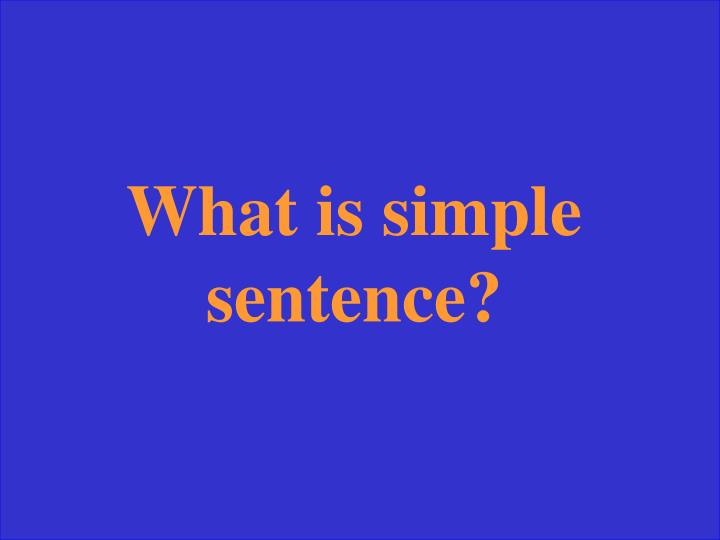 What is simple sentence?