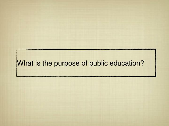 What is the purpose of public education?