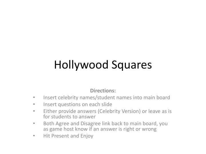 Ppt Hollywood Squares Powerpoint Presentation Id2824255