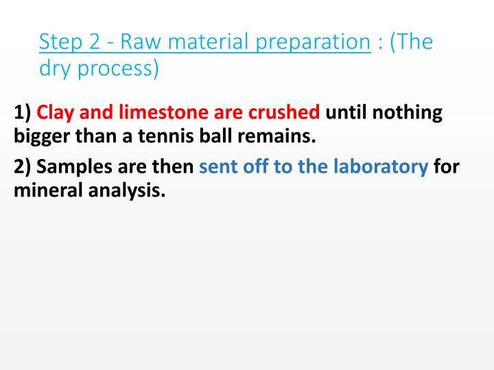 Step 2 - Raw material