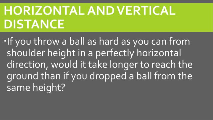Horizontal and Vertical Distance