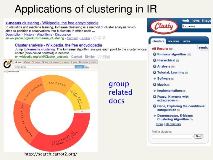 Applications of clustering in IR