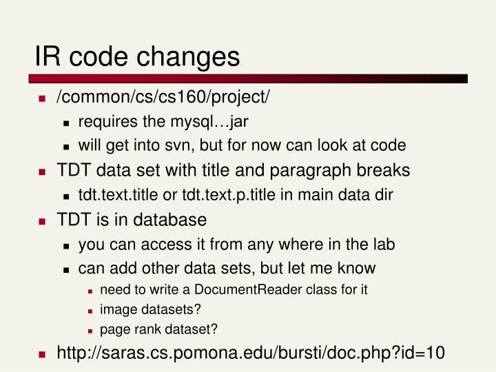 IR code changes